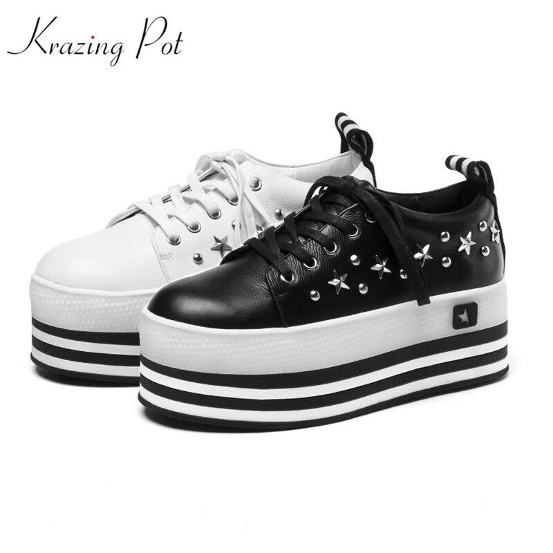 Krazing Pot genuine leather lace up superstar round toe platform causal rivets decoration gladiator Female vulcanized shoes L07