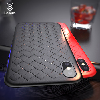 Baseus Luxury Grid Pattern Case For iPhone X Cases Ultra Thin Soft Silicone Protective Case For iPhoneX Cover Matte Coque Funda