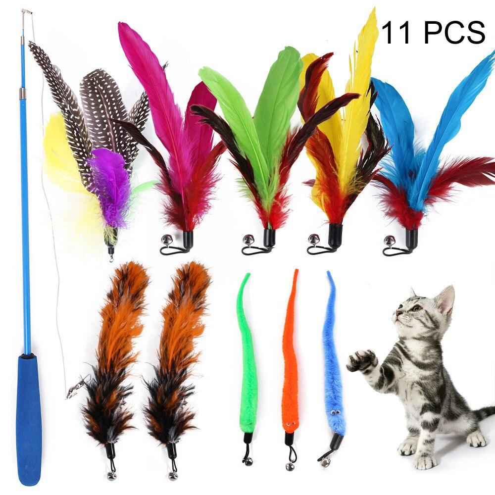 11 pçs/set Cat Catcher Teaser Wand Vara de Pesca Retrátil Pólo Pena Brinquedo, Grande para o Exercício Cão Gatinho
