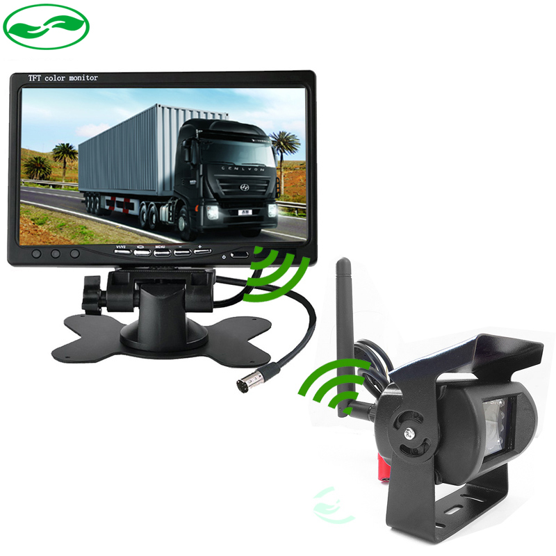 DC 12 24V 7inch HD Car Monitor + IR Night Vision CCD Car Backup Camera Wireless Parking Kit For Car Bus Truck Caravan Trailer