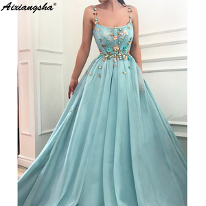 Image 1 - Spaghetti Straps Beaded Flowers Muslim Evening Dresses 2019 A line Tulle Islamic Dubai Saudi Arabic Long Evening Gown Prom