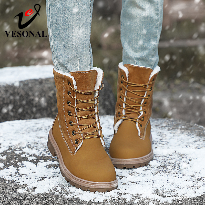 Image 3 - VESONAL 2019 Winter Suede Leather Warm Snow Shoes Women Boots mid calf Plush Fur Velvet Boots Female Booties Woman Footwear-in Mid-Calf Boots from Shoes