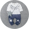 2016 Spring Fresh Small Baby Boy Freaky Love Korean Style Two Piece Star Suits Brief Full Casual Set