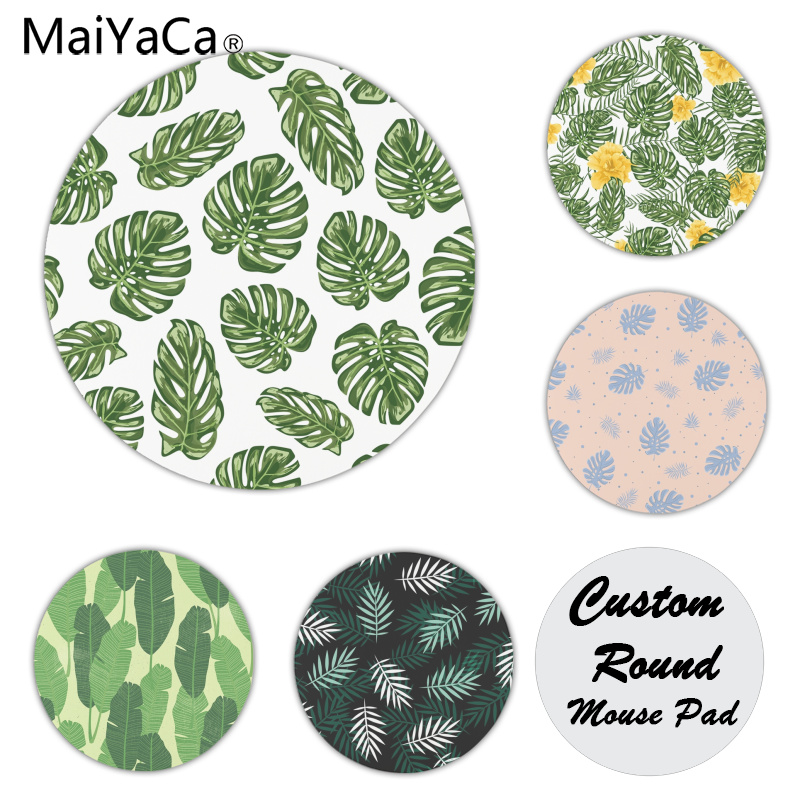 MaiYaCa Green Leaves Silicone Pad to Mouse Game Size for 20x20CM Speed Version Round Mousepads