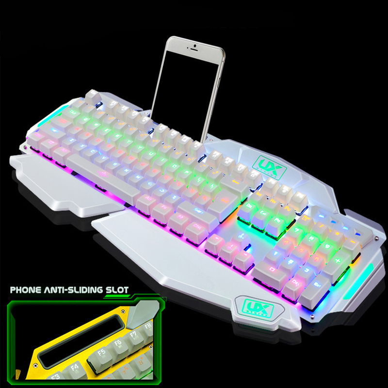 Wired Mechanical Gaming Keyboard with Professional Blue Axis USB Wired LED Game Computer Keyboard For Desktop Laptop Peripherals  alangduo simple pro usb wired keyboard for desktop laptop computer tablet home office video gaming game
