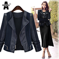 ACHIEWELL Plus Size 5XL Autumn Women Pu Leather Jacket Coat Patchwork Long Sleeve Slim Zipper Blue Women Jacket Outwear