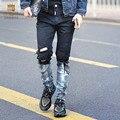 FanZhuan Envío de la manera ocasional masculina de Los Hombres Gradiente vaqueros Delgados pantalones casuales retro cremallera pies metrosexual 8104 pantalones