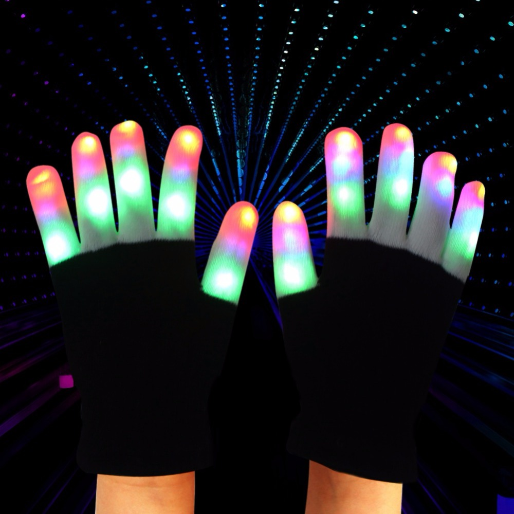 Black light gloves - Party Decorations Magic Black Led Gloves Light Novelty 6 Finger Lighting Flashing Glow Mittens Gloves Event