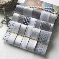 New 21 Yards Mix Simple Silvering Series Printed Satin Grosgrain Organza Ribbon Set DIY Hairpin Bowknot