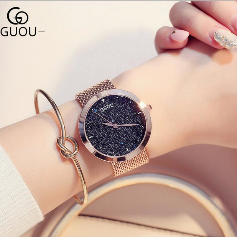 relojes mujer 2018 GUOU Luxury Shiny Diamond Wrist Watch Women Watches Rose Gold Women's Watches Ladies Watch Clock montre femme watche women stainless steel band ladies crystal diamond quartz watch luxury rose gold wrist watches relojes mujer