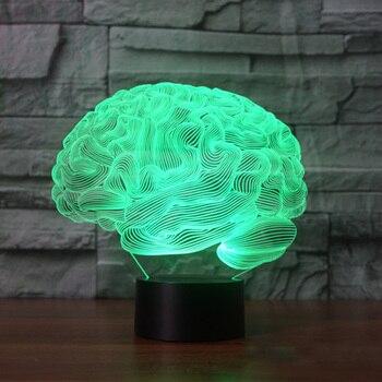 3D Illusion Lampe Forme du cerveau 7 Changement de Couleur Tactile Commutateur LED Nuit Lumière Acrylique Bureau lampe Atmosphère 1