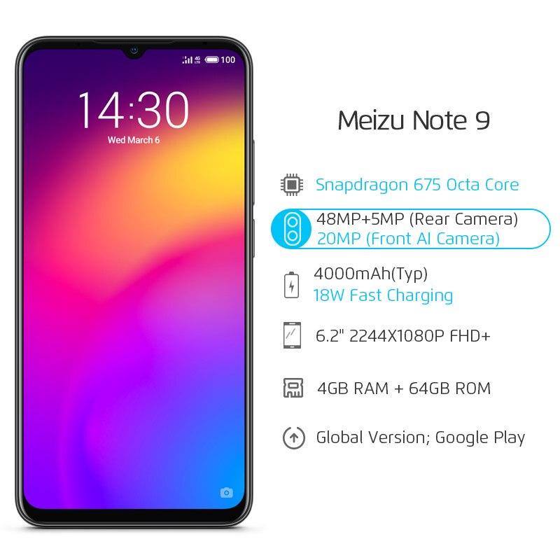US $174 99 20% OFF|Global Version Meizu Note 9 4GB 64GB 128GB Smartphone  Snapdragon 675 Octa Core Note9 48MP Dual Camera AI Front 20MP 4000mAh-in