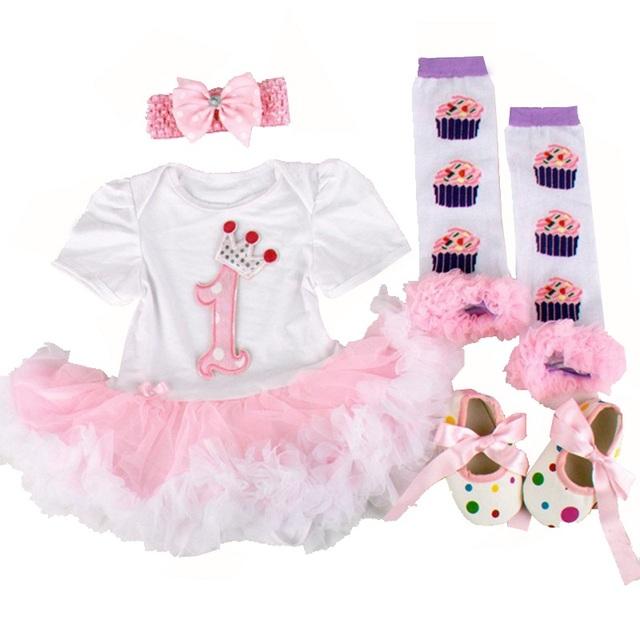 Primeira rosa roupas de aniversário para meninas recém-nascidas infantil lace tutu dress romper set 2017 vestido infantil criança romper dress roupas