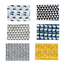 Nordic Style Cotton Linen Tissue Cover Box Rectangle Paper Container Geometric Animal Pattern Napkin Storage Holder Case