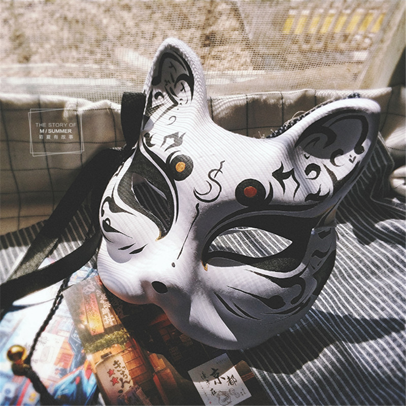 New Japanese Private Fox Mask Hand-painted Cat Natsume's Book of Friends Pulp Fox Half Face Mask Halloween Cosplay Photo Props