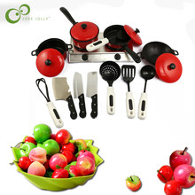 Kitchen Toy Set Utensils Cooking Pots Pans Food Dishes mini simulation Artificial Fruits Kids Cookware pretend play Toys WYQ(China)