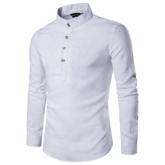 2018 Men casual Shirt Cotton Linen Blended Mandarin Collar Breathable Comfy Traditional Chinese Style long sleeve shirts EU size