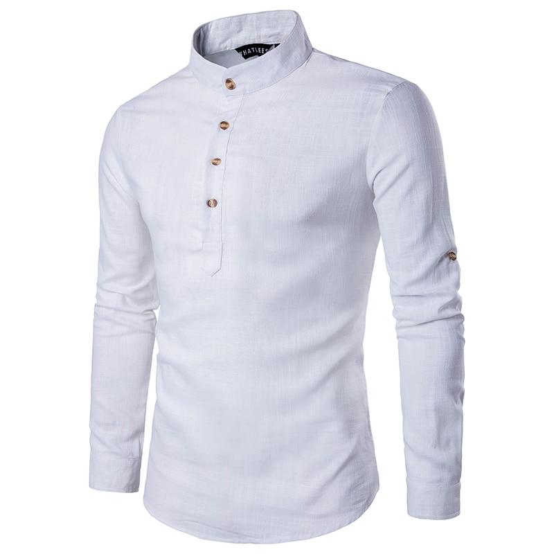 Image 2 - 2019 Мужская Повседневная рубашка с длинным рукавом, рубашки с воротником стойкой, одноцветная Традиционная рубашка в китайском стиле, хлопковая Смешанная рубашка размера плюс-in Повседневные рубашки from Мужская одежда