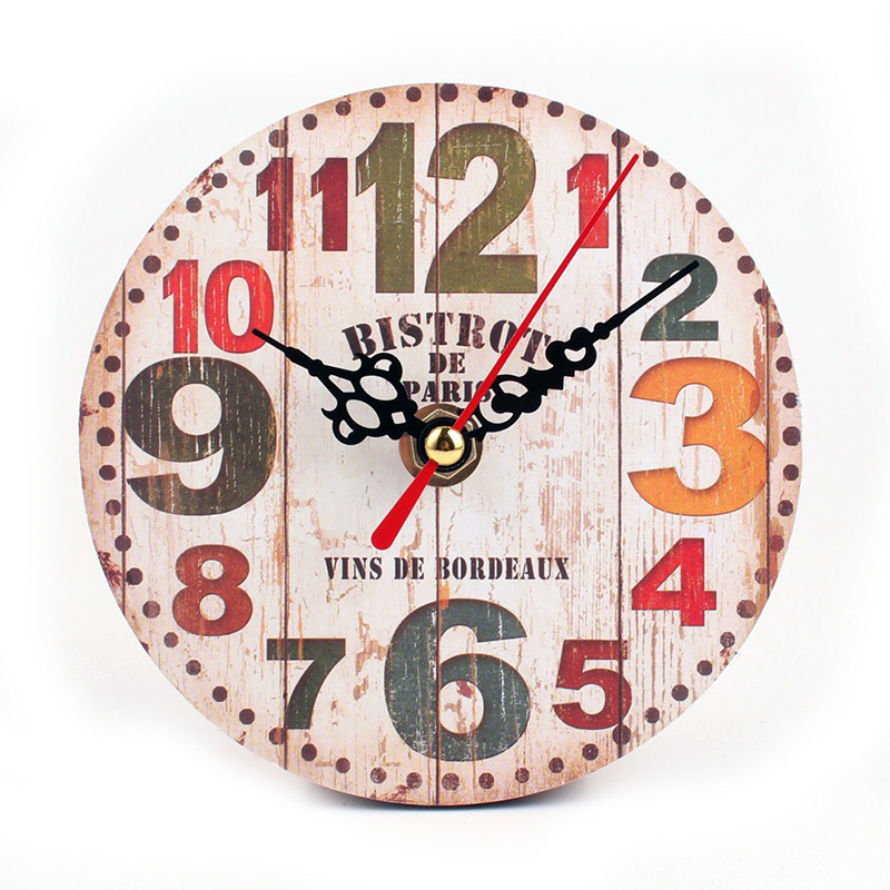 Retro European Circular Wooden Clock Vintage Rustic Shabby Office Cafe Decor ...
