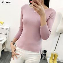 2018 new spring short sleeved shirt collar Pullover Sweater Korean female thin Xnxee
