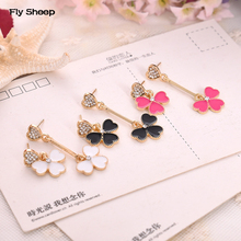 Fashion Asymmetrical Temperament Simple Black Earrings Women Luxury Crystal Long Dangle Earrings Jewelry  for Party Ceremony