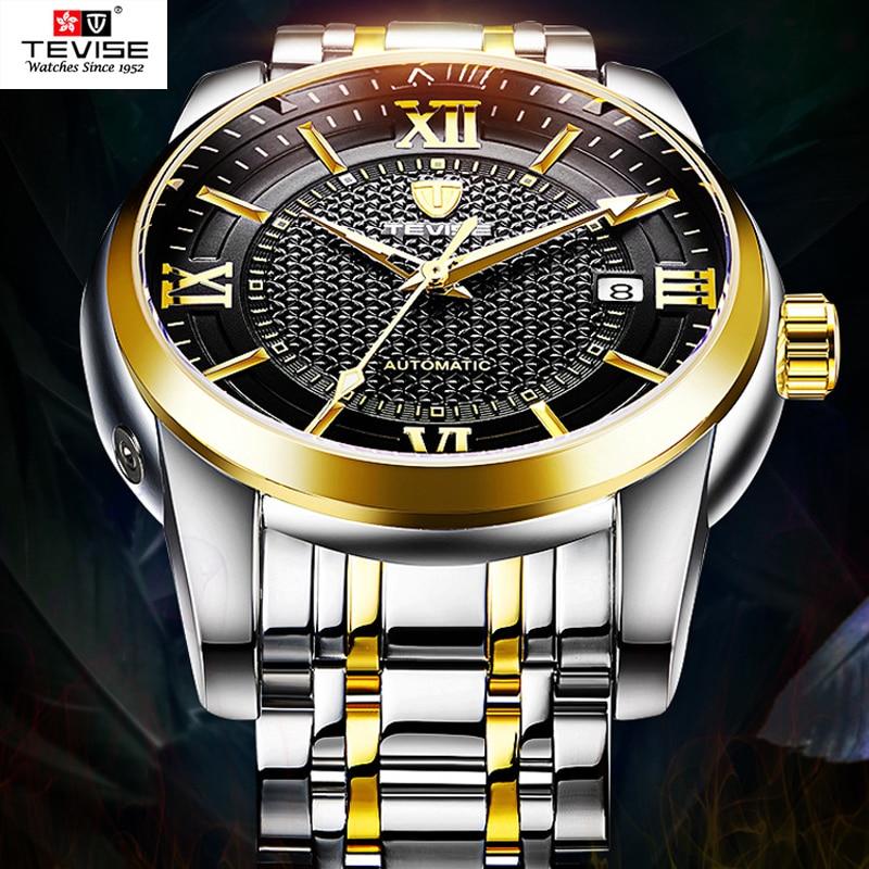 лучшая цена 2018 Tevise Watch Men Luxury Gold Automatic Mechanical Mens Wrist Watches 316L Stainless Steel Luminous Waterproof Clock relogio