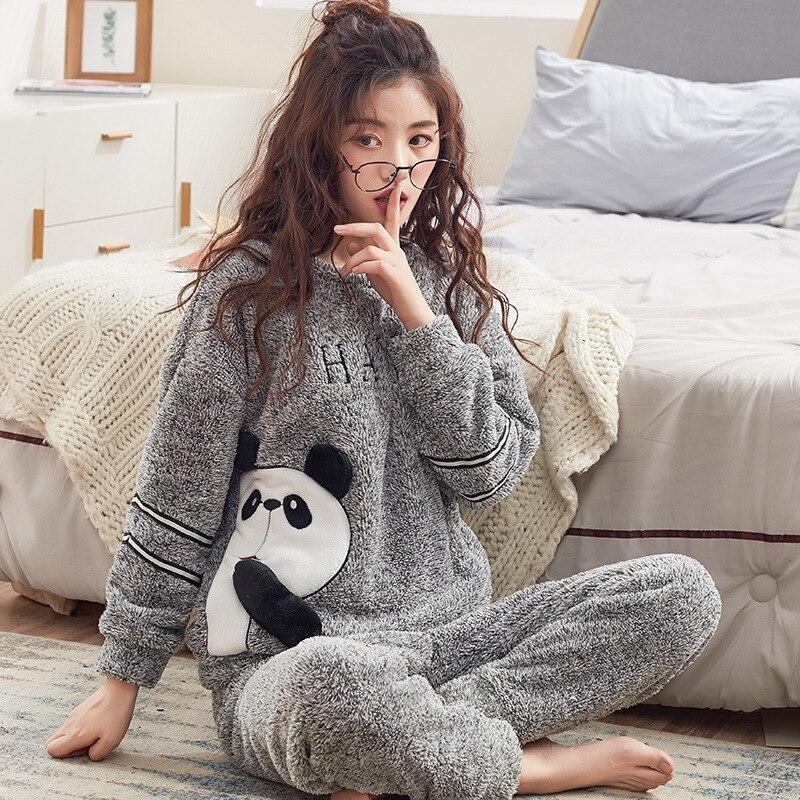 2018 Winter Cartoon Panda Thick Women Pajama Sets Flannel Warm 2 PCS Pajamas  Coral Fleece Suits Sleepwear Autumn Pyjamas Set 0e79d9997
