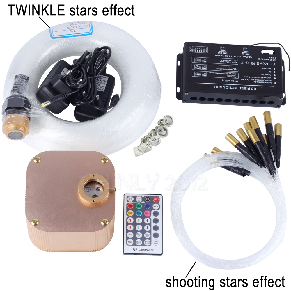 лучшая цена 16W RGBW RF Remote TWINKLE LED Fiber Optic Light Kit for Ceiling Starry Effect 335pcs Fiber Cable with Shooting Meteor Machine