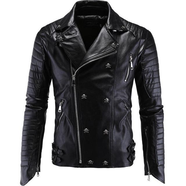Black Leather Jacket Men Slim Fit Jaqueta De Couro Punk Skull Motorcycle Jacket Men Plus Size PU Zipper Jackets A1598