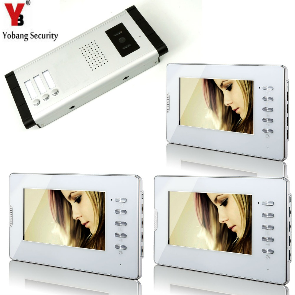 Yobang Security 3 Units Apartment 7Inch Monitor Wired Video Door Phone Doorbell Speakerphone Video Entry Intercom Camera SystemYobang Security 3 Units Apartment 7Inch Monitor Wired Video Door Phone Doorbell Speakerphone Video Entry Intercom Camera System