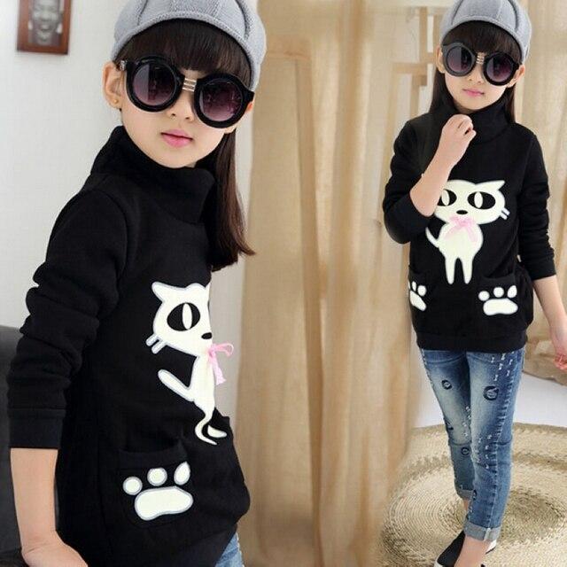 Малыш сгустите Кофты прохладный девушки зима дна рубашку плюс Флис с длинными рукавами футболки Случайные Пиджаки детская Clothing