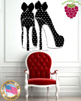 Free Shipping Wall Stickers Vinyl Decal Sexy High Heel Shoes with Polka Dots and Bows Desgin 2015 fashion home shop decoration