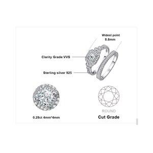 Image 5 - JPalace prenses Vintage nişan yüzüğü seti kadınlar için 925 ayar gümüş yüzük alyanslar gelin setleri gümüş 925 takı