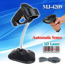 MJ-4209 Automatic Scanning USB Laser 1D Barcode Scanner Portable Handheld Wired USB 1D Scanner W/Stand Code Reader Scanner
