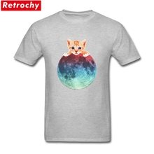 Fashion The Moon Is Mine Tees Shirts Male Leisure Short Sleeved O-neck Cotton Cute Cat Men Creative Print Summer T Shirts