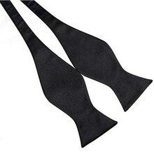 8 Colors Stylish Mens Bowties Solid Color Plain Silk Self Tie
