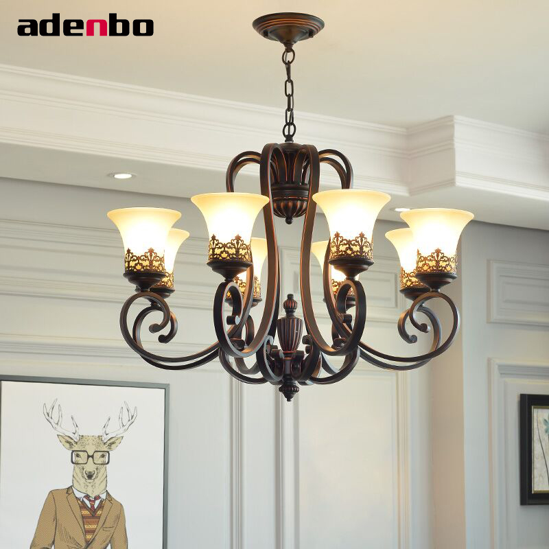 Chandelier Lights Black Iron Wrought E27 LED Chandeliers Lighting Fixtures With Glass Shade For Living Room And Bedroom Lighting