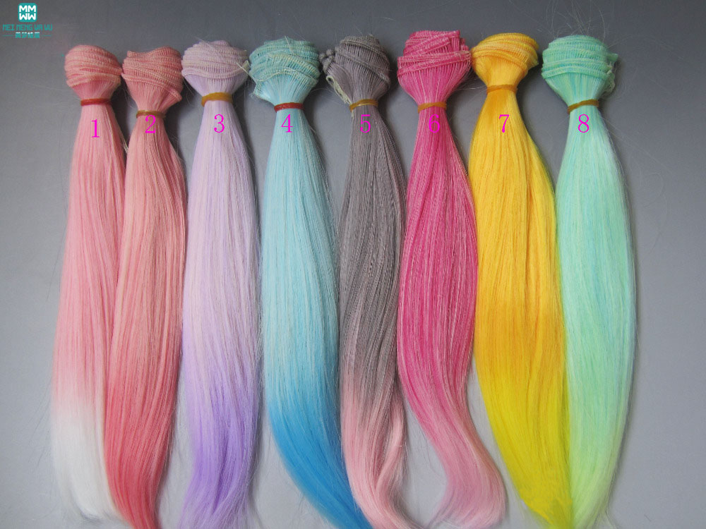 25cm*100cm Doll Wigs Straight Hair For 1/3 1/4 1/6 BJD Doll Two Color Gradients