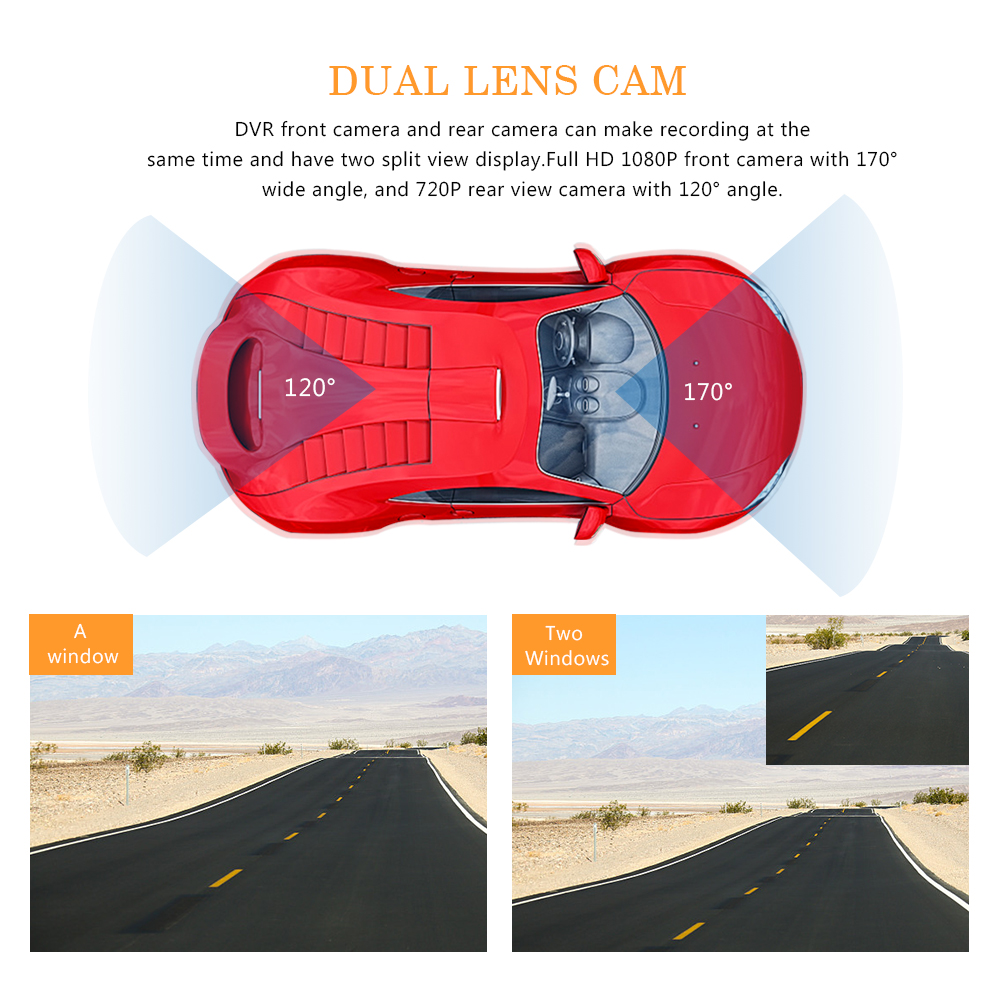 Image 4 - Car DVR 4 Inch Auto Camera Dual Lens Full HD 1080P Dash Cam Video Recorder With Rear View Camera Registrator Night Vision DVRs-in DVR/Dash Camera from Automobiles & Motorcycles