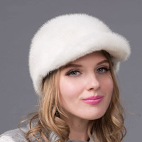 New Hot Winter Fur Hat Women's Leather Mink Cap with Diamond Accessories Visor Women's Fur Hat High Quality Hat DHY 55