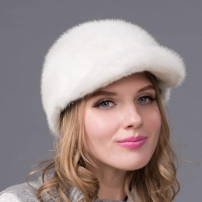 Nouveau chapeau de fourrure d'hiver chaud femmes en cuir vison casquette avec diamant accessoires visière femmes fourrure chapeau de haute qualité chapeau DHY-55