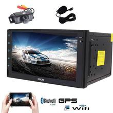 free camera+Android 6.0 Car Stereo with Quad Core GPS Car Radio 2 Din 7inch Touch Screen Headunit In Dash Navigation 1080P Video