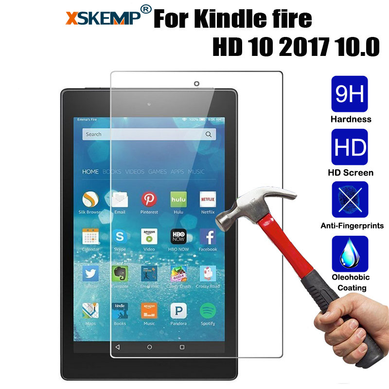 XSKEMP 9H Hard Screen Protector Cover Skin For Amazon Kindle Fire HD 10 2017 10.0 0.3mm HD Tablet Tempered Glass Protective Film