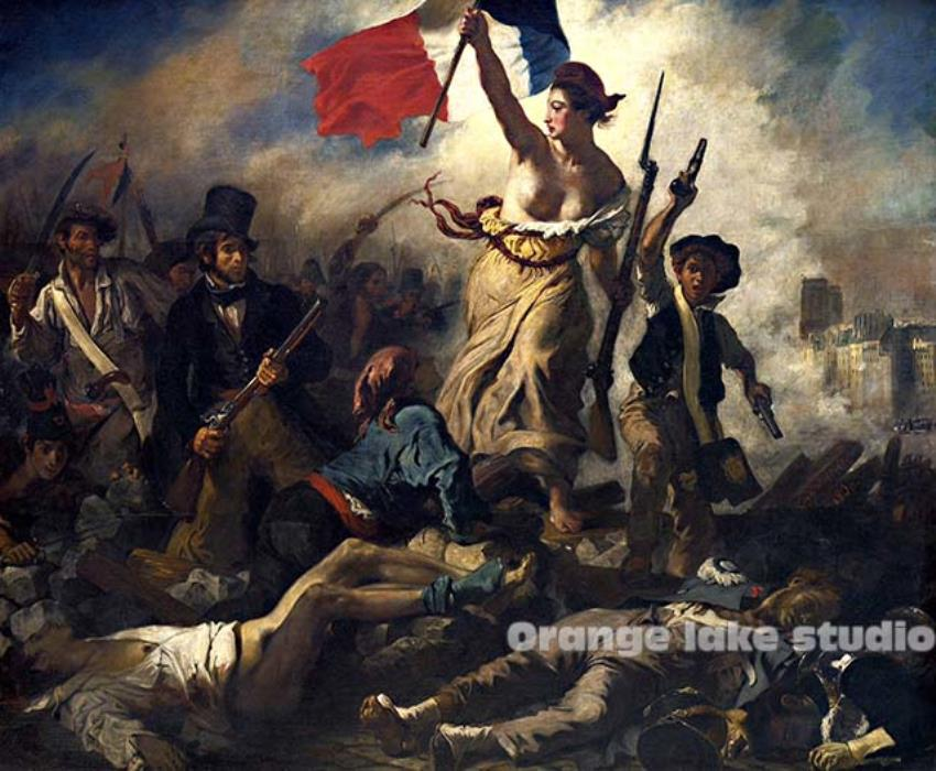Delacroix Liberty Leading the People Famous oil painting Cotton Cloth Canvas Painting Core Living room bedroom Home Decoration