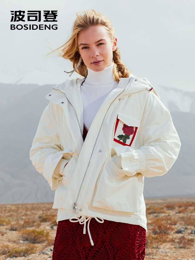 BOSIDENG ROSE collection new winter   down     coat   women   down   jacket hooded outwear white high quality pagoda cuff B80141122