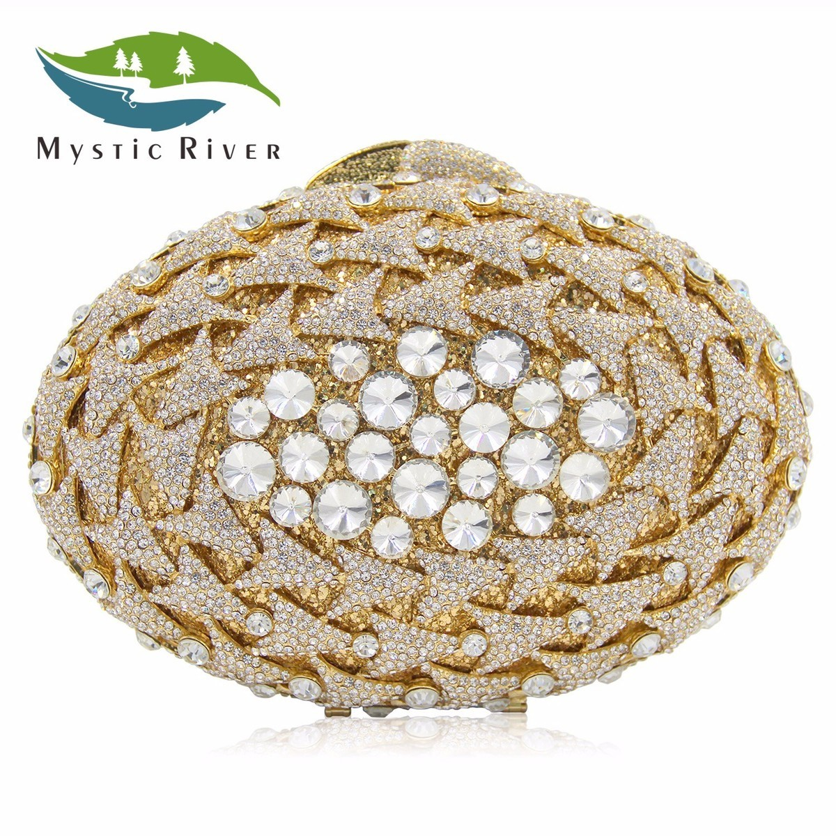 Mystic River Women Crystal Stones Evening Bags Luxury Rotate Oval Shape Party Bag Female Wedding Clutches Purses Withe Gold free shipping a15 36 sky blue color fashion top crystal stones ring clutches bags for ladies nice party bag