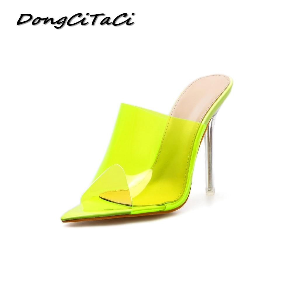 DongCiTaCi รองเท้าส้นสูงปั๊มรองเท้าล้างคริสตัลโปร่งใส Heel Pointed Toe Slingback นีออนสีเขียวรองเท้าแตะรองเท้าส้นสูง-ใน รองเท้าส้นสูง จาก รองเท้า บน   1