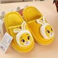 3D мультфильм кролик pattern детские тапочки/желтый дети милые хлопка тапочки, мальчиков и девочек домашние тапочки