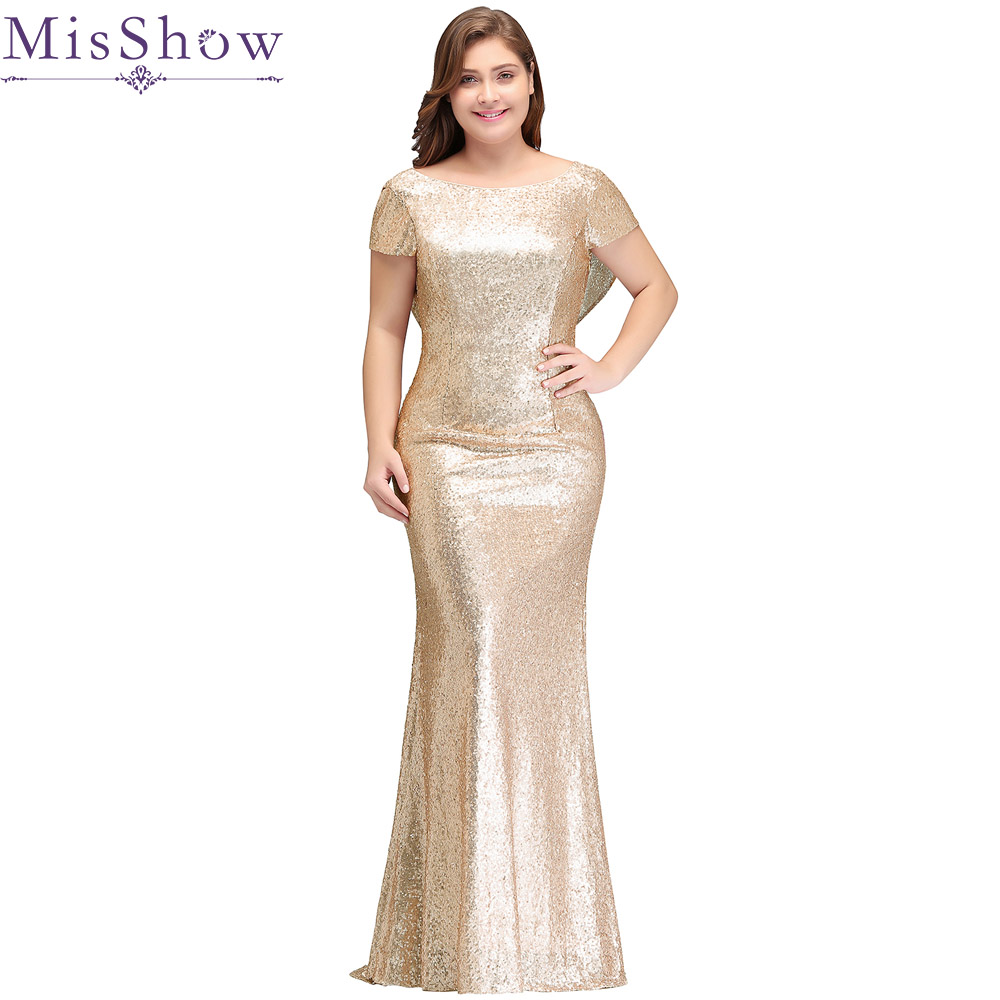 Evening     Dresses   Plus Size 16W-26W New Arrival 2019 Champagne Backless Sequins Mermaid Formal Party   Dress     Evening   Gown for Woman