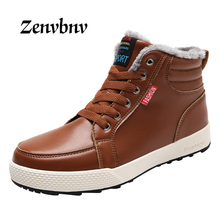 ZENVBNV New Arrival 2017 Fashion Men Warm Ankle boots High Quality Flats Shoes Black Men's Casual High Top Shoes snow boots